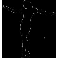 Девушка с раздвинутыми в сторону руками