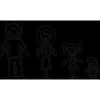 Семья - папа, мама, дочь, сын