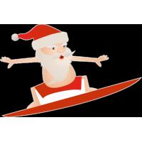 Санта Клаус серфер