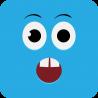 Удивлённый голубой смайлик с открытым ртом