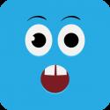 Удивленный голубой смайлик с открытым ртом