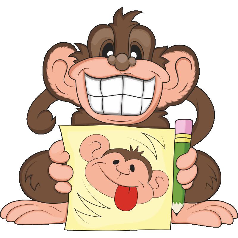 Рисованные картинки обезьянки смешные, просто так своими