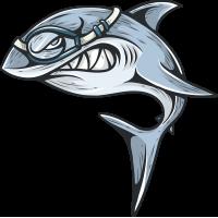 Акула в маске для подводного плавания