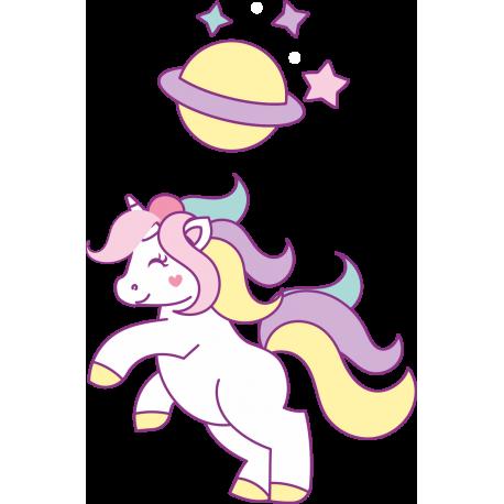 Волшебный единорог с планетой