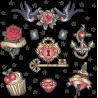 Набор Классические Стикеры Птицы Ключ Роза Брильянт Якорь Сердце