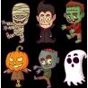 Набор наклеек персонажи Монстры На Хэллоуин